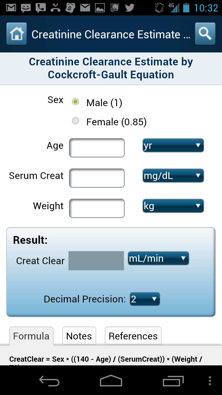 Medical calculators available on Medscape Mobile app for